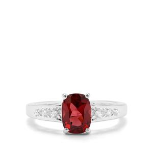 Rajasthan Garnet & White Zircon Sterling Silver Ring ATGW 1.76cts