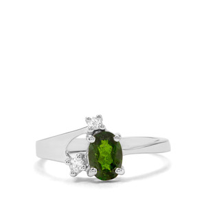 Chrome Diopside & White Zircon Sterling Silver Ring ATGW 0.88cts