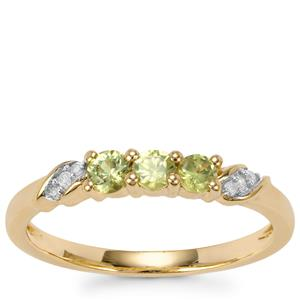 Ambanja Demantoid Garnet Ring with Diamond in 10K Gold 0.42ct