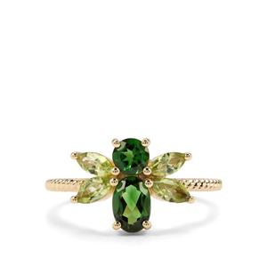 Chrome Tourmaline & Changbai Peridot 9K Gold Bee Ring ATGW 1.39cts
