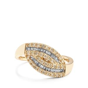 Yellow Diamond Ring with White Diamond in 9K Gold 0.52ct