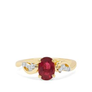 Nigerian Rubellite Ring with Diamond in 18K Gold 1.09cts