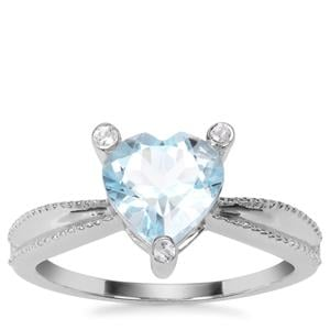 Sky Blue Topaz Ring with White Topaz in Sterling Silver 2.30cts