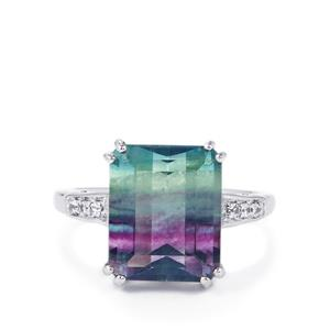Zebra Fluorite Ring with White Zircon in Sterling Silver 7.93cts