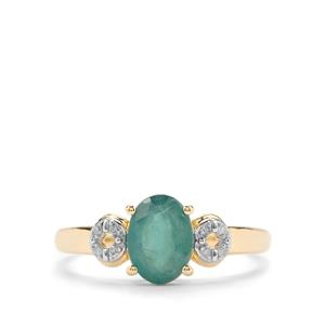 Grandidierite Ring with Diamond in 10K Gold 1.25cts