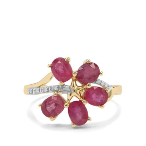 Sant Ruby & Diamond 9K Gold Ring ATGW 2.69cts