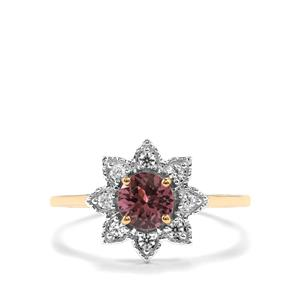 Mahenge Pink Spinel Ring with White Zircon in 10K Gold 0.92ct