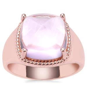 Rose De France Amethyst Ring in Rose Gold Plated Sterling Silver 8.72cts