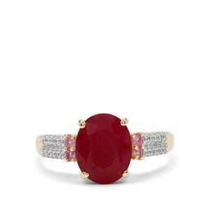 Burmese Ruby & White Zircon 9K Gold Tomas Rae Ring ATGW 3.50cts