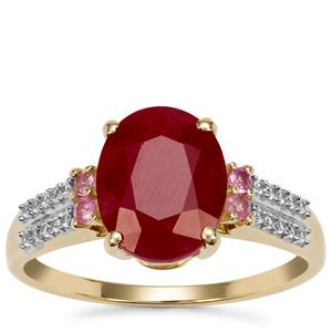 Burmese Ruby Ring with White Zircon in 9K Gold 3.50cts