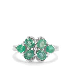 Zambian Emerald & White Zircon Sterling Silver Ring ATGW 1.74cts