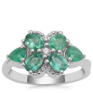 Zambian Emerald Ring with White Zircon in Sterling Silver 1.74cts