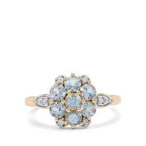 Santa Maria Aquamarine & White Zircon 9K Gold Ring ATGW 1.15cts