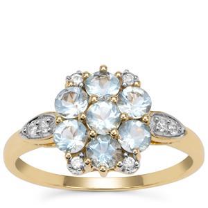 Santa Maria Aquamarine Ring with White Zircon in 9K Gold 1.15cts