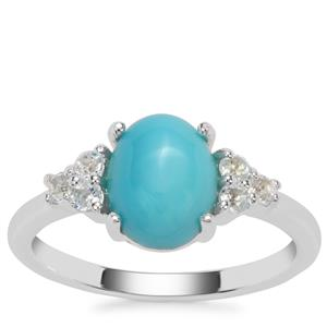 Sleeping Beauty Turquoise Ring with Sky Blue Topaz in Sterling Silver 2cts