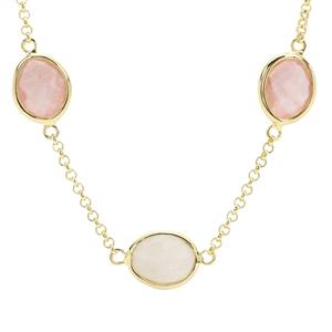 Rainbow Moonstone Necklace with Rose Quartz in Gold Plated Sterling Silver 21.45cts