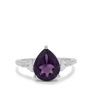Zambian Amethyst Ring with White Zircon in Sterling Silver 2.80cts