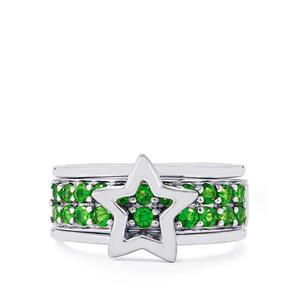 1.10ct Chrome Diopside Sterling Silver Set of 2 Stacker Rings
