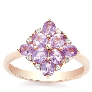 Natural Purple Sapphire & White Zircon 9K Gold Ring ATGW 1.66cts