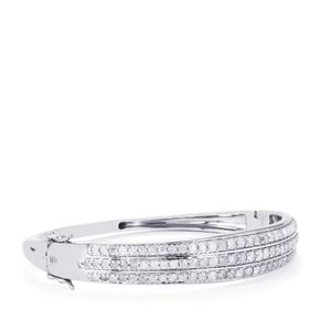 Diamond Oval Bangle in Sterling Silver 4ct