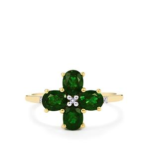 Chrome Diopside Ring with Diamond in 10k Gold 1.66cts