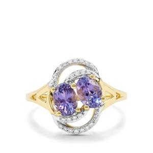 AA Tanzanite & White Zircon 9K Gold Ring ATGW 1.36cts