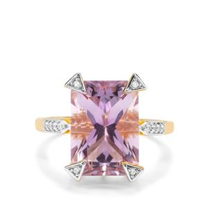 Barion Cut Ametista Amethyst & White Zircon Midas Ring ATGW 6.91cts