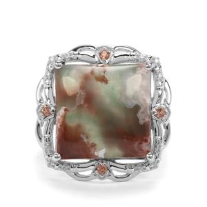 Aquaprase™, Sopa Andalusite & White Zircon Sterling Silver Ring ATGW 11.28cts