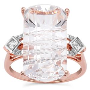 Crystal Quartz Ring with Natural Zircon in 9k Rose Gold 11.66cts