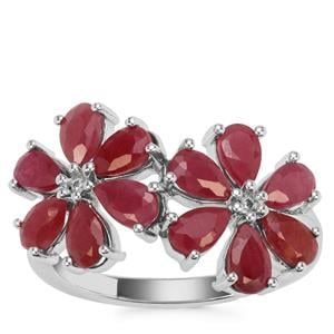 Bangalore Ruby Ring with White Zircon in Sterling Silver 3.75cts