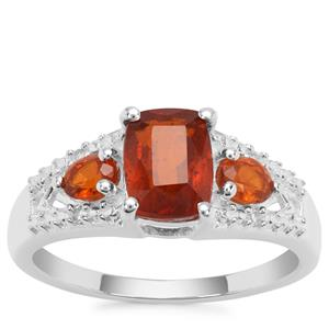 Loliondo Orange Kyanite Ring with White Zircon in Sterling Silver 2.31cts