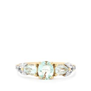 Paraiba Tourmaline & Diamond 18K Gold Tomas Rae Ring MTGW 1.07cts