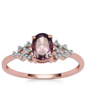 Mahenge Purple Spinel Ring with Diamond in 9K Rose Gold 0.92cts