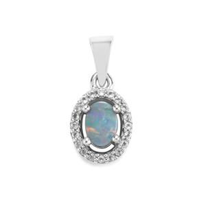 Crystal Opal on Ironstone Pendant with White Topaz in Sterling Silver