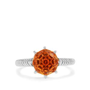 Efflorescence Padparadscha Quartz Ring in Sterling Silver 2.85cts