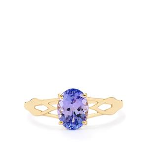 AA Tanzanite Ring  in 9K Gold 1.23cts