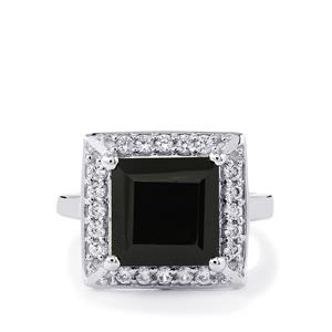 Black Spinel Ring with White Zircon in Sterling Silver 7.69cts