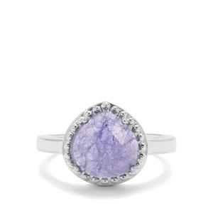3.80ct Rose Cut Tanzanite Sterling Silver Ring