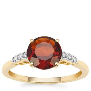 Madeira Citrine Ring with Diamond in 9K Gold 1.62cts