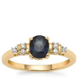 Nigerian Blue Sapphire Ring with Diamond in 18K Gold 1.26cts