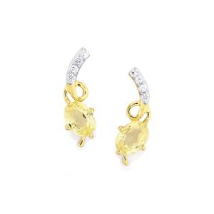 Canary Kunzite & White Zircon 10K Gold Earrings ATGW 2.60cts