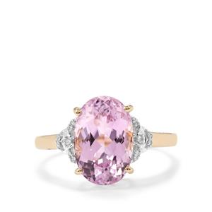 Mawi Kunzite Ring with White Diamond in 10K Gold 4.59cts