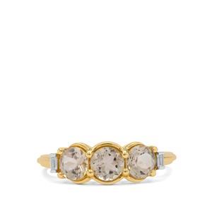 Padparadscha Oregon Sunstone & White Zircon 9K Gold Ring ATGW 1.50cts