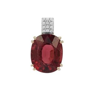 Nigerian Rubellite Pendant with White Zircon in 9K Gold 5.25cts