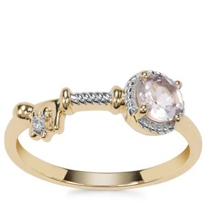 Galileia Morganite Ring with White Zircon in 9k Gold 0.42ct