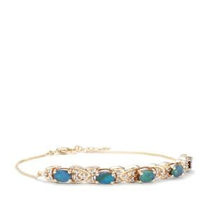 Crystal Opal on Ironstone Bracelet with Diamond in 9k Gold
