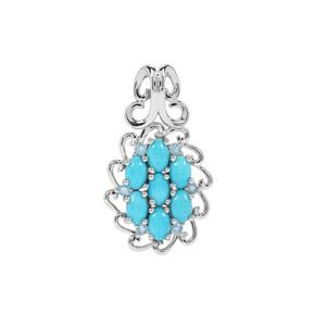 Sleeping Beauty Turquoise & Swiss Blue Topaz Sterling Silver Pendant ATGW 3.30cts