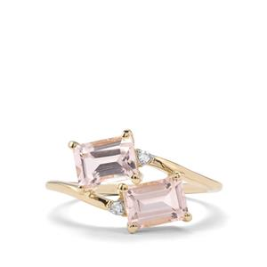 Alto Ligonha Morganite Ring with Diamond in 9K Gold 1.81cts