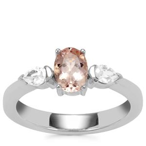 Zambezia Morganite Ring with White Zircon in Sterling Silver 1.14cts