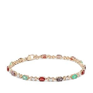 Mahenge Spinel, Winza Ruby, Colombian Emerald & Diamond 9K Gold Tomas Rae Bracelet ATGW 3.88cts